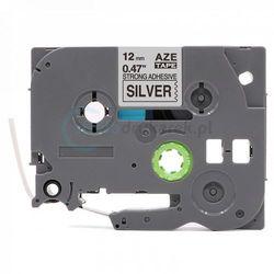 Taśma Brother TZe-S931 mocny klej srebrna/czarny nadruk 12mm x 8m zamiennik