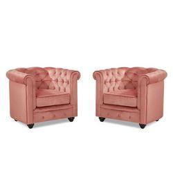 Komplet 2 foteli CHESTERFIELD - Pasteloworóżowy welur