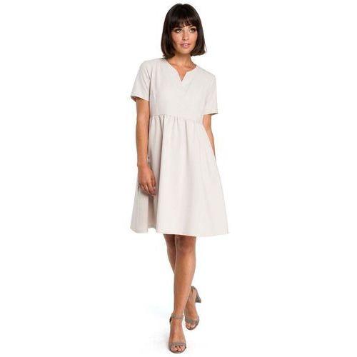 Suknie i sukienki, Beżowa Rozkloszowana Sukienka Mini Odcinana pod Biustem