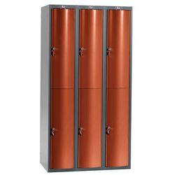 Metalowa szafa ubraniowa CURVE, 3x2 drzwi, 1740x600x550 mm, czerwony