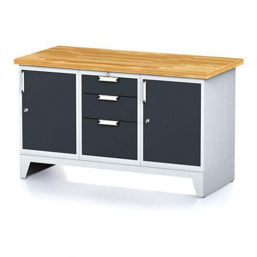 Stoły warsztatowe, Stół warsztatowy MECHANIC, 1500x700x880 mm, 1x 3 szufladowy kontener, 2x szafka, szara/antracyt