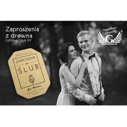 Zaproszenia ślubne z drewna - cyfrowy druk UV - ZAP003