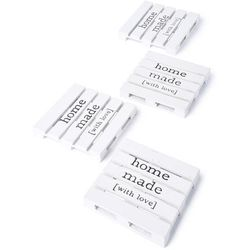 """Podstawki """"home made"""" (4 szt.) bonprix biało-szary"""
