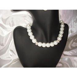 N-00007 Naszyjnik z perełek szklanych, białych promocja!