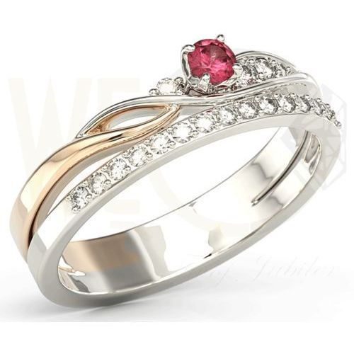 Pierścionki i obrączki, Pierścionek z białego i różowego złota z rubinem i brylantami BP-77BP - Białe i różowe \ Rubin
