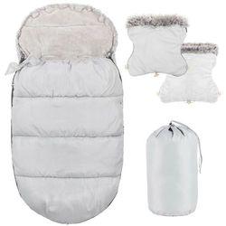 Śpiworek do wózka 4w1, mufka, śpiwór do sanek, gondoli z torbą 90 cm szary
