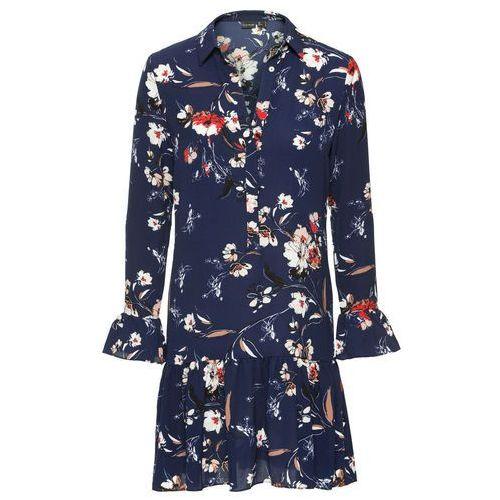 Suknie i sukienki, Sukienka w kwiaty bonprix ciemnoniebieski wzorzysty