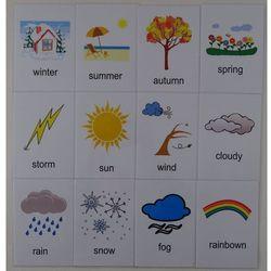 Pogoda / pory roku karty edukacyjne wersja w j. angielskim