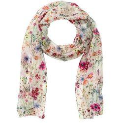Wąski szalik z jedwabiu w kwiatowy deseń bonprix kremowo-kolorowy