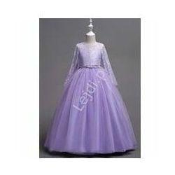 Balowa suknia dziecięca dla dziewczynki w kolorze jasnego fioletu 023