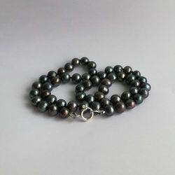 Naszyjnik supełkowany - perły grafitowe okrągłe PES34-1