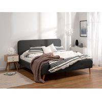Łóżka, Łóżko szare - 160x200 cm - łóżko tapicerowane - RENNES
