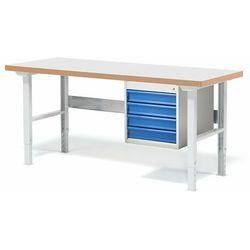 Stół warsztatowy SOLID, z 4 szufladami, 500 kg, 1500x800 mm, laminat