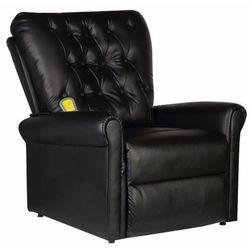 Elektryczny fotel masujący z eko-skóry, regulowany, czarny