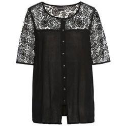 Bluzka szyfonowa bez rękawów bonprix koralowo-ciemnoróżowo-czarno-kremowy