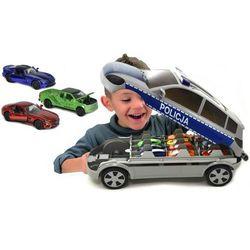 Majorette Policja Radiowóz walizka na resoraki + 3 samochodziki