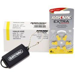 60 x baterie do aparatów słuchowych Rayovac Extra Advanced 10 + zasobnik na baterie Rayovac