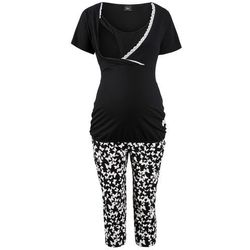 Piżama do karmienia ze spodniami 3/4 bonprix czarny z nadrukiem
