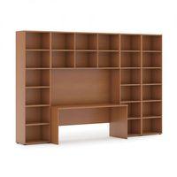 Pozostałe książki, Biblioteka z wbudowanym biurkiem, wysoka/szeroka, 3350x700/400x2300 mm, czereśnia