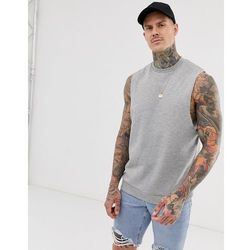 ASOS DESIGN relaxed sleeveless sweatshirt with dropped armhole in grey marl - Grey