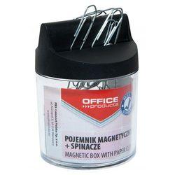 Pojemnik magn. na spinacze OFFICE PRODUCTS, okrągły, ze spinaczami, transparentny