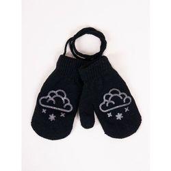 Rękawiczki dziecięce jednopalczaste ze sznurkiem czarne z chmurką 16
