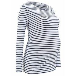Shirt ciążowy z bawełny organicznej bonprix biało-ciemnoniebieski w paski