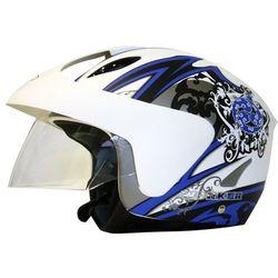 Kask motocyklowy WORKER V520, Biała grafika, XS (54)