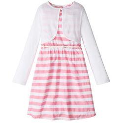 Sukienka + pasek + bolerko (3 części) bonprix jasnoróżowo-biały w paski