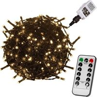 Ozdoby świąteczne, BIAŁE CIEPŁE LAMPKI CHOINKOWE 50 DIOD LED OZDOBA ŚWIĄTECZNA + PILOT - Zielony / Ciepła biel / 50 LED