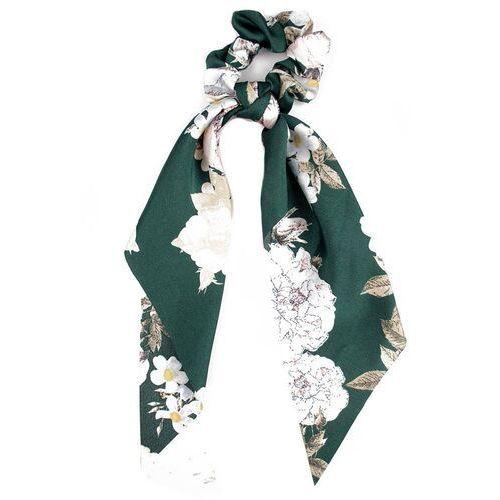 Pozostała biżuteria, Gumka do włosów scrunchies apaszka kokarda zielona