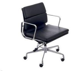 Fotel biurowy CH inspirowany EA217 skóra, chrom - czarny