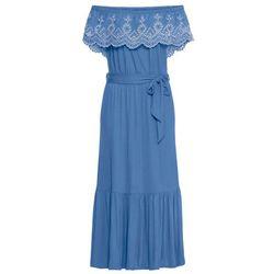 Długa sukienka bonprix czarno-leo w paski