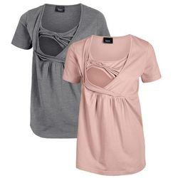Shirt ciążowy i do karmienia bonprix stary jasnoróżowy - szary melanż