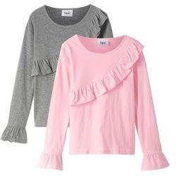 Koszulka + spódniczka tiulowa (2 części) bonprix biało-stary róż