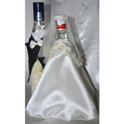 Ubranka na butelkę wódki -falbanka biała róża ekri