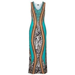 Długa sukienka bonprix turkusowo-kolorowy