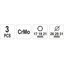 Nasadki udarowe do felg aluminiowych, kpl 17, 19, 21 mm / YT-1056 / YATO - ZYSKAJ RABAT 30 ZŁ