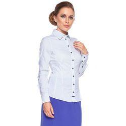 Koszula biała w granatowe prążki - Duet Woman