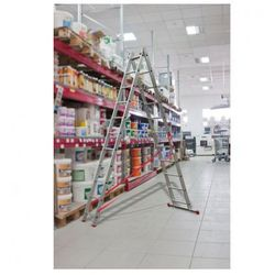 Dwuczęściowa drabina aluminiowa wielofunkcyjna, 2x9 stopni, 3,6 m