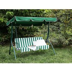 Huśtawka zielono-biała - meble ogrodowe - stal - ławka - CHAPLIN