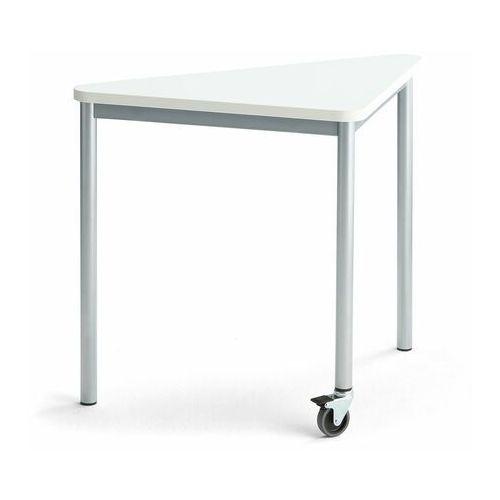 Pozostałe meble biurowe, Stół SONITUS TRIANGEL, z kółkiem, 905x605x720 mm, biały laminat, szary aluminium