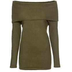 Sweter dzianinowy z kolorowymi wstawkami bonprix ciemnoszary melanż
