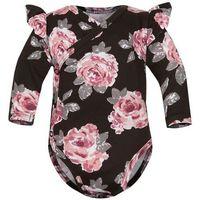 Body niemowlęce, Body kopertowe niemowlęce z długim rękawem Brązowe Róże - Dolce Sonno