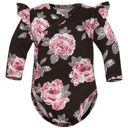 Body kopertowe niemowlęce z długim rękawem Brązowe Róże - Dolce Sonno