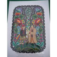 Ozdoby świąteczne, Wycinanka ludowa, łowicka Ażur - Łowiczanie z palmą wielkanocną, 50x34 cm