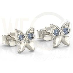 Kolczyki motylki z białego złota z niebieskimi cyrkoniami BPK-88B-C - Białe