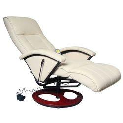 vidaXL Masujący fotel elektryczny ze skóry syntetycznej, kremowy Darmowa wysyłka i zwroty
