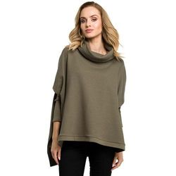Khaki Oversizowa Asymetryczna Bluza z Luźnym Golfem