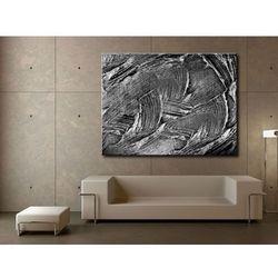 Nowoczesne obrazy - srebrna abstrakcja - duży obraz na ścianę rabat 15%
